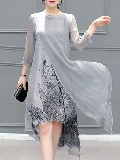 Elegante vestido midi asimétrico impreso - StyleWe.com