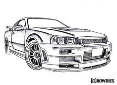 #drawing #crowdies #gtr R34 Gtr, Nissan Skyline Gt, Nissan Gtr Skyline, Gtr Drawing, Car Cartoon Drawing, Nissan R34, Cool Car Drawings, Truck Coloring Pages, Car Sketch