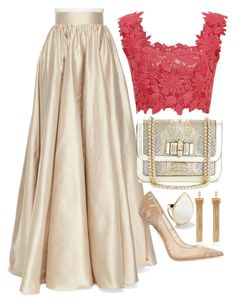 Gold by carolineas on Polyvore featuring polyvore, fashion, style, Monique Lhuillier, Jenny Packham, Jimmy Choo, Christian Louboutin, Ippolita and Chloé
