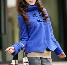 tecido de lã de mulheres slim senhora outerwear casaco curto casacos jaqueta  e0116 wrap Blue Coats 28b982143c280