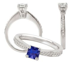 18K lab-grown 4.5mm princess cut blue sapphire engagement ring with natural diamonds