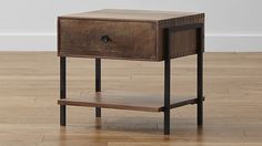 Atwood Nightstand - Black walnut wood, reclaimed peroba wood, and natural steel (21W x 18D x 19.75H)