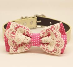 Hot Pink Ivory Lace Dog Bow Tie collar, Pet Wedding, Birthday, Polka Dots