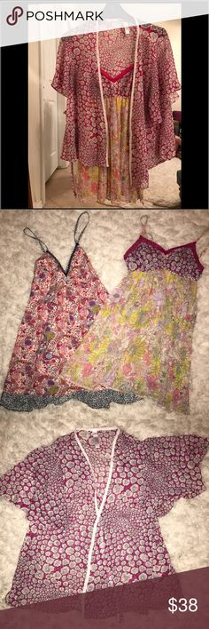 ❤BUNDLE❤Liberty of London For Target intimates Beautiful nightgowns with kimono cover up wore once excellent condition no signs of wear (THIS IS NOT ANTHROPOLOGIE) Anthropologie Intimates & Sleepwear Chemises & Slips