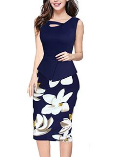 Vfemage Womens Summer Floral Print Casual Wear To Work Office Pencil Dress 2910 BLU 14 -- Click on the image for additional details.
