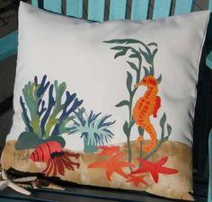 Hand-painted Sea Life Indoor & Outdoor Pillow