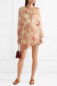 1819dfe84f68 Zimmermann - Corsair one-shoulder ruffled floral-print silk-georgette  playsuit