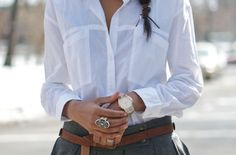 Loose-fitting white button down