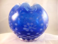 Gorgeous Cobalt Blue Snowflake Rose Bowl by LG Wright Glass EXC #LGWrightGlass