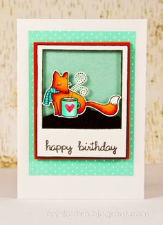 Lawn Fawn - Winter Fox, Say Cheese stamps and coordinating die, Happy Everything _ adorable birthday card by Anni at Annikarten: Geburtstagskarten