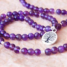 Mala améthyste perles bijoux en argent Sterling Yoga