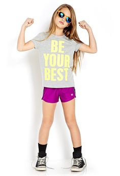 """This girl has the right idea! @Forever21 """"Be Your Best"""" t-shirt #CottonKids"""