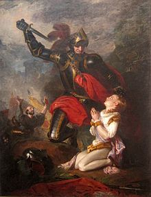 Edmund, Earl of Rutland. Shown here being killed at the age of 17 in the War of the Roses. He was son of Richard of York and Cecily Neville.  His brothers later became kings Edward IV and Richard III.