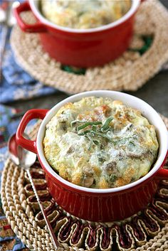 I MUST try this!   Make-Ahead Baked Eggs with Bacon, Mushrooms & Sage Recipe