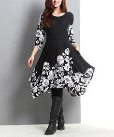 Another great find on #zulily! Black Floral Handkerchief Fit & Flare Dress #zulilyfinds  Was $110, now $37