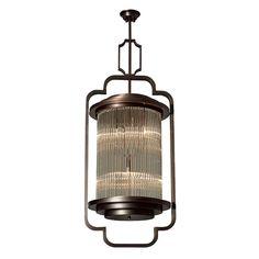 玻璃吊灯 铜+玻璃 染紫古铜 P65112-B W550*D500*H1500mm