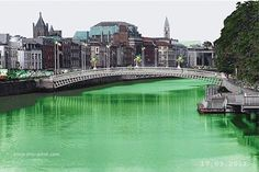 The river is dyed green on St. Patrick's Day.