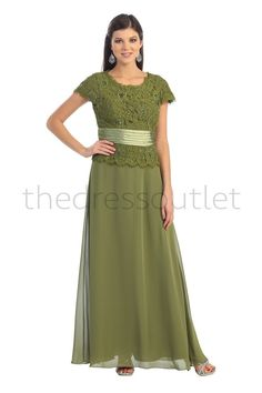 Formal Short Sleeve Mother of the Bride Long Dress Plus Size-The Dress Outlet