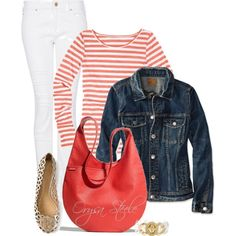 Denim and Coral, created by orysa on Polyvore