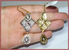 """Signature Victorian Collection....known for its international taste and appeal!    """"Maryl""""...only $960 or P42,240!! 4.28ct ROSE/ANTIQUE CUT DIAMOND 14k GOLD DANGLE/EARRING! Imported, world-class quality, not pre-owned, not pawned, not stolen. We deliver worldwide <3"""