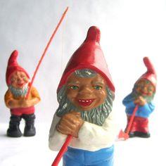 vintage German Gnome Figurines.  via Etsy.