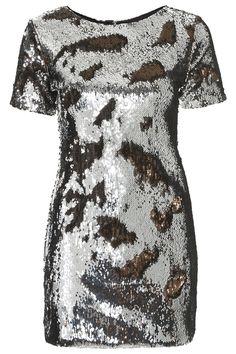 Two-Tone Sequin Bodycon Dress