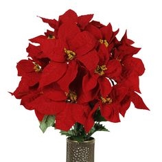 Red Pointsettia Silk Flower Bouquet with Stay-In-The-Vase® Design Flower Holder(MD1113) -- Visit the image link more details.