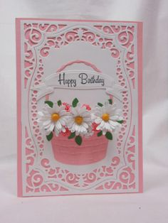 The Cat Ate My Card: Monday Mixture - Impression Obsession Spiral Medium Daisy, Memory Box Bountiful Basket, Impression Obsession Small Spiral Flowers, Impression Obsession Leaf Cluster, Spellbinders Majestic Labels 25 & Ribbon Banner