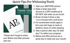 Quick tips Please share your before and after pictures with me. Nuskin Toothpaste, Ap 24 Whitening Toothpaste, Whitening Skin Care, Teeth Whitening Remedies, Skin Care Regimen, Skin Care Tips, Home Remedies For Pimples, Combination Skin Care, Anti Aging Skin Care