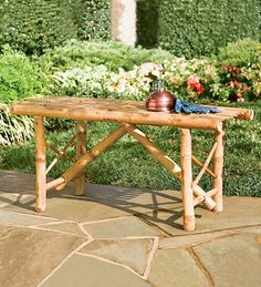 This cute folding bamboo bench will have a happy home in my garden.