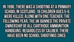 Exactly and Scotland is a much better place after that happened. The Dumbar children would be celebrating their nineteenth birthdays this year. And they will always be remembered. Stop gun ownership in America
