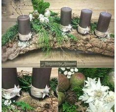 15 Fabulous Christmas Candle Decoration Ideas To Delight Your Holiday Christmas Advent Wreath, Rustic Christmas, Christmas Crafts, Christmas Candle Centerpieces, Christmas Decorations, Christmas Candles, Table Decorations, Deco Floral, Deco Table