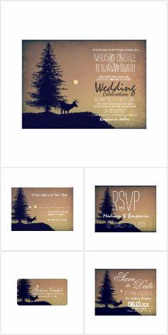 Rustic Deer Pine Tree Country Wedding Set