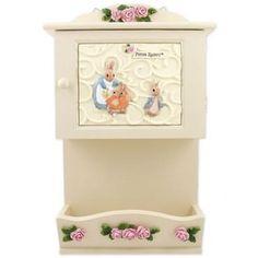 Beatrix Potter Peter Rabbit Wall Keybox Letter Holder Organizer Resin Rose Ivory-White