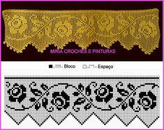 Crochet Patterns Filet, Crochet Borders, Embroidery Patterns Free, Crochet Motif, Crochet Flowers, Crochet Lace, Cross Stitch Embroidery, Crochet Curtains, Crochet Pillow