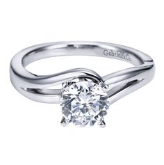 Gabriel & Co. Engaged Contemporary Solitaire Engagement Ring ER6680W4JJJ