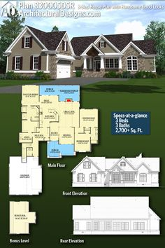 Architectural Designs House Plan 830006DSR gives you 3 beds, 3 baths and over 2,700 square feet of heated living space PLUS a bonus room over the garage! Ready when you are! Where do YOU want to build? #830005DSR #adhouseplans #architecturaldesigns #houseplan #architecture #newhome #newconstruction #newhouse #homedesign #dreamhouse #homeplan #architecture #architect #craftsman #craftsmanhome #countryhome #countryhouse