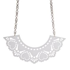 Our huge Doily necklace is made from laser cut opal acrylic and hangs from a chunky plated chain. Laser Cut Acrylic, Bird Necklace, Plastic Jewelry, Dangly Earrings, Animal Jewelry, Beautiful Necklaces, Laser Cutting, Doilies, Swarovski Crystals