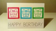 Verjaardagskaart gemaakt met clear stamp met daarop een cadeautje (Action) en Stabilo stiften.