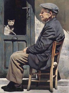 """Gianni Strino (Italian painter) – """"Il Vecchio e il Gatto"""" Figurative Kunst, Italian Painters, Italian Artist, Painting People, Cat People, People Of The World, Interesting Faces, I Love Cats, Cat Art"""