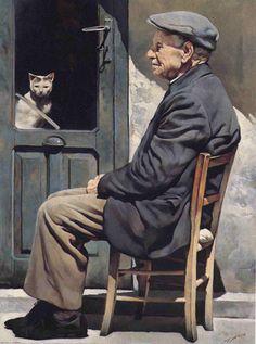 """Gianni Strino (Italian painter) – """"Il Vecchio e il Gatto"""""""