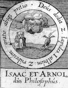 ALQUIMIA VERDADERA: Emblema 61. Isaac y Arnau, filósofosDios nos dio dos piedras, la primera blanca y la segunda roja, gratis y sin pedir nada.