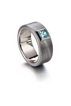 Damascus steel, white gold and blue princess-diamond. Damascus Ring, Damascus Steel, Institute Of Design, Diamond Design, Petra, Rings For Men, White Gold, Wedding Rings, Rose Gold