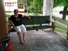 New life for old doors...  A new take on the old porch swing