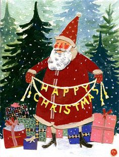 """I love Phoebe Wahls Illustrations and this can only make us feel happier for having seen it. Nighty night folks H&DrS Toots and naughty Max.he's in bother for peeing on my Robin Doorstop. Noel Christmas, Father Christmas, Little Christmas, Christmas Greetings, Winter Christmas, All Things Christmas, Vintage Christmas, Christmas Crafts, Christmas Decorations"