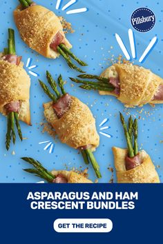 Asparagus and ham crescent rolls Parmesan, Yummy Appetizers, Appetizer Recipes, Crescent Roll Recipes, Crescent Rolls, Brunch Recipes, Dinner Recipes, Asparagus Recipe, Fresh Asparagus