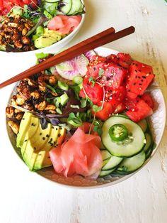 Vegan Watermelon Poke Bowls ♡ www.homegrownprovisions.com