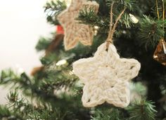 simple crochet star Christmas ornaments - free pattern
