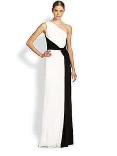 David Meister Colorblock Sleeveless Jersey Gown 548.00 ...A modern colorblock design invigorates this floor-sweeping Grecian evening gown, crafted with draped jersey. The back of the gown is black.