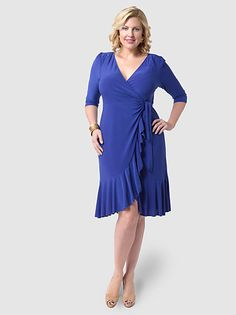 647cedccac9 Whimsy Wrap Dress Blue by Kiyonna Office Dresses